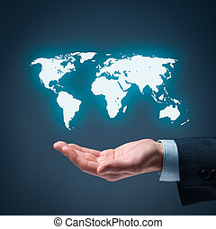 Global market - Businessman offer map of the world...