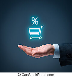 Discount and commission in e-shopSale represented by...