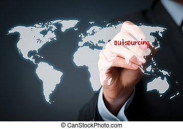 Outsourcing concept - Outsourcing, globalization and global...