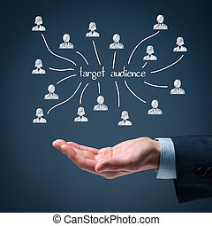 Target audience and customers concept. Man hold target...