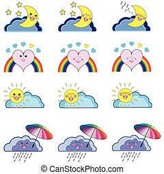 Kawaii weather icons - Kawaii set of weather related icons :...
