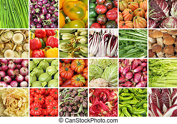 group of images with fresh vegetables on farmers tuscan market