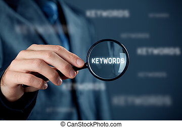 Find keywords concept. Marketing specialist looking for...
