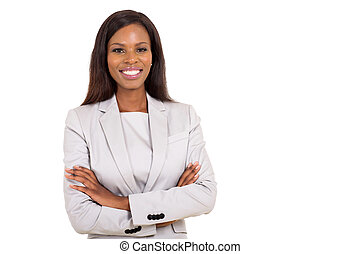young african businesswoman looking at the camera - cheerful...
