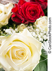 bouquet of roses with white and red roses