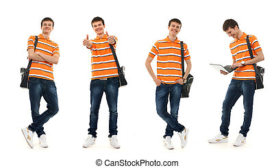 Young smart teenage boy isolated on white - Collection of...