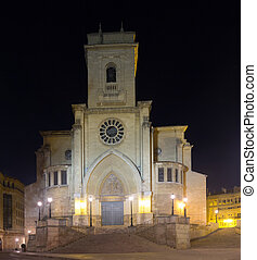 Night view of Cathedral of Albacete Spain