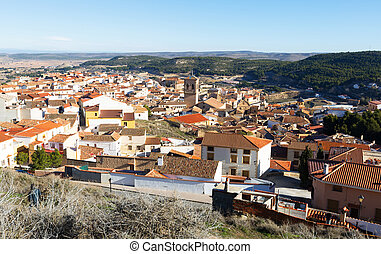 Roofs of spanish town Chinchilla de Monte-Aragon, province...