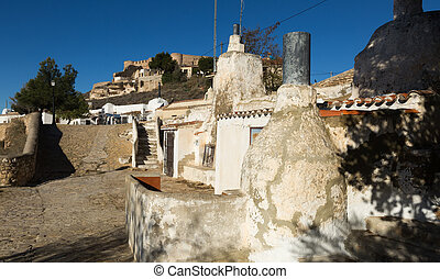 Dwelling houses into rocks Chinchilla de Monte-Aragon,...