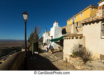Dwelling houses built into rock Chinchilla de Monte-Aragon,...