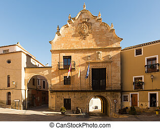 View of main square of Chinchilla de Monte-Aragon Province...