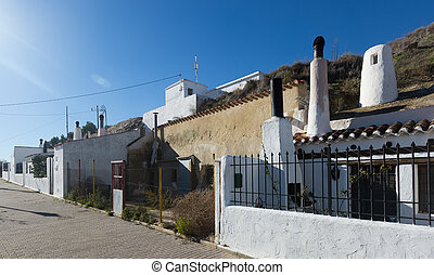 Dwelling caves into mount Chinchilla de Monte-Aragon -...