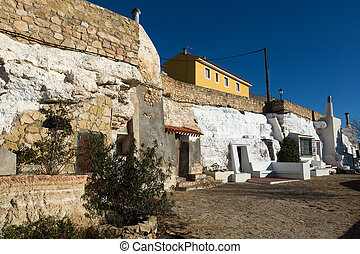 Dwelling houses into rocks Chinchilla de Monte-Aragon -...