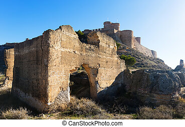 Day view of ruins and castle of Chinchilla. Chinchilla de...