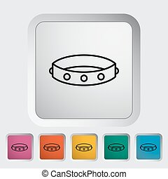 Collar Outline icon on the button Vector illustration