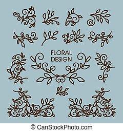 Vector set of floral line design elements for logos