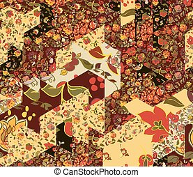 Patchwork pattern with flowers. Abstract creative seamless...
