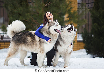 Woman with malamutes - Woman with two dogs breed of malamute...