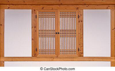 wooden window korean style in South Korea.