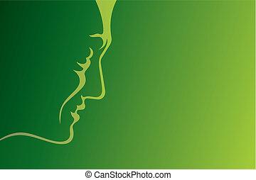 Man profile green vector