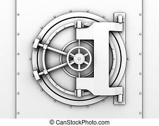 bank vaulted door - 3d illustration of bank vaulted door...