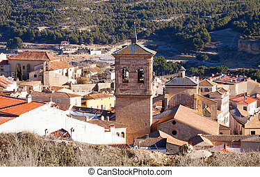 Belltower in spanish town Chinchilla de Monte-Aragon,...
