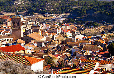 Spanish town Chinchilla de Monte-Aragon - Aerial view of old...