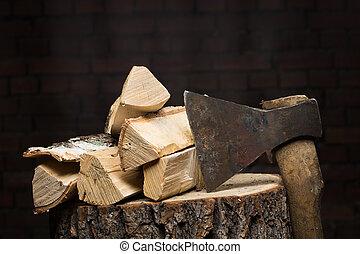 Abedul, Leña, viejo, oxidado, ax, ,
