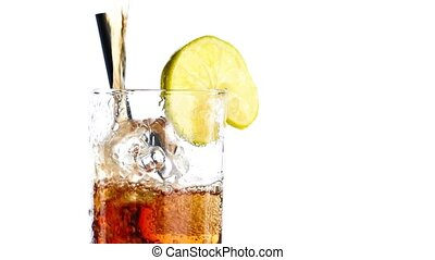 fresh coke with lime slice - pouring fresh coke with lime...
