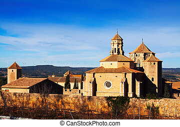 View of Poblet Monastery in winter Catalonia, Spain