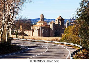 Poblet Monastery from road. Catalonia - Poblet Monastery...