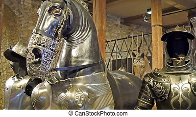 Metal statues of the knight and the horses found inside the...