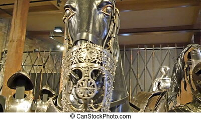 Close up look of the metal horse statues face and a knight...