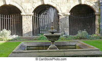 The water fountain found on the lawn in Westminster Abbey....