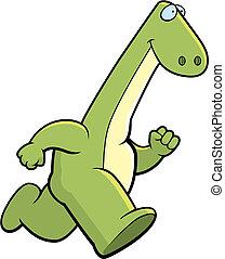 Dinosaur Running - A cartoon dinosaur running.