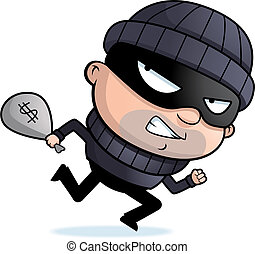 Burglar Running - A cartoon burglar running