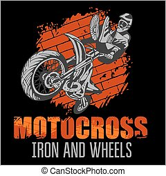 Motocross, desporto, -, grunge, cartaz,