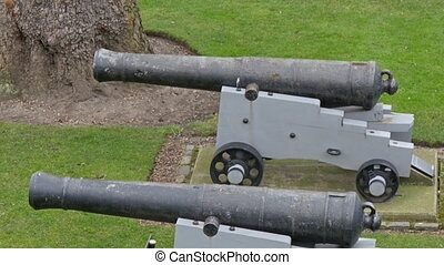 Two small artillery cannon displayed on the lawn