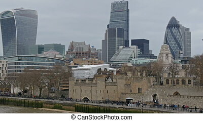 The view of the tall buildings in the city of London