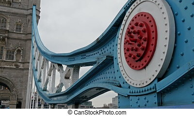 Closer view of the blue metal of the london bridge - Closer...