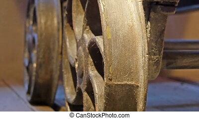 Metal round steel in brown color It looks like a metal wheel...
