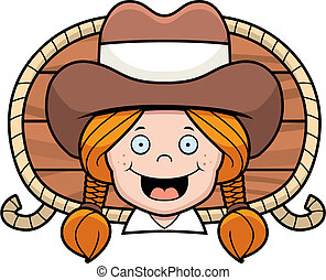 Cowgirl Smiling - A cartoon cowgirl smiling