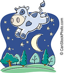 Cow Moon - A cartoon cow jumping over the moon