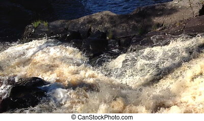 Ruskeala strong current - waterfall strong current Karelia,...