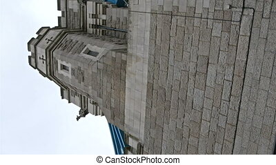 One of the brick towers of Tower Bridge Shown are the two...