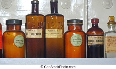 Different kinds of poisons and chemicals on the bottles. The...