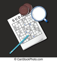 illustration of Sudoku game, mug of milk and chocolate...