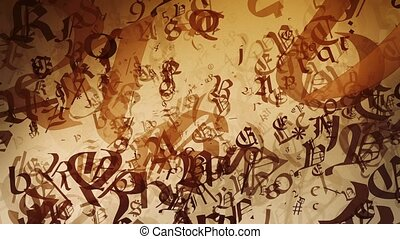 Abstract variables letters and symbols in vintage brown