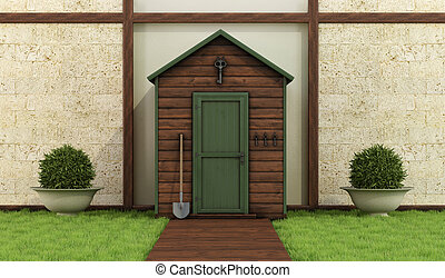Wooden shed in a classic garden - Classic garden with old...