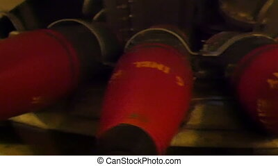The red tipped artiller cannon bullets in a warship. Lots of...